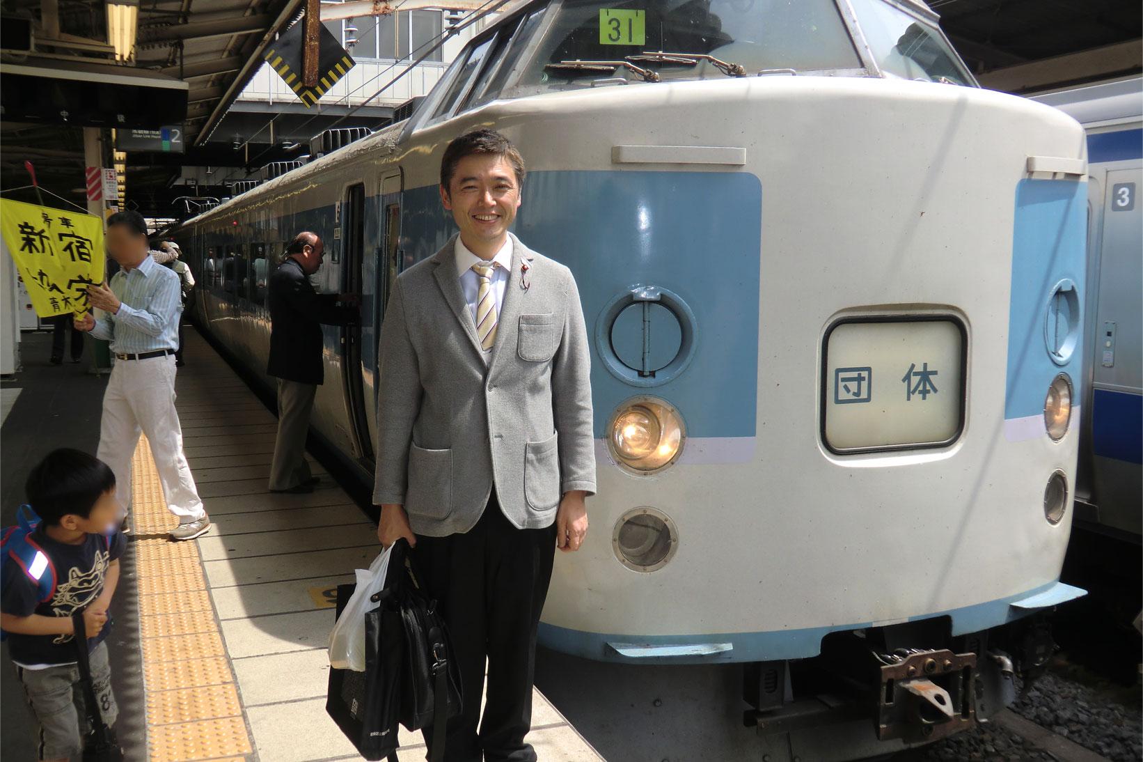 新金線体験ツアー初開催。喜びの笑顔!!松戸駅で。