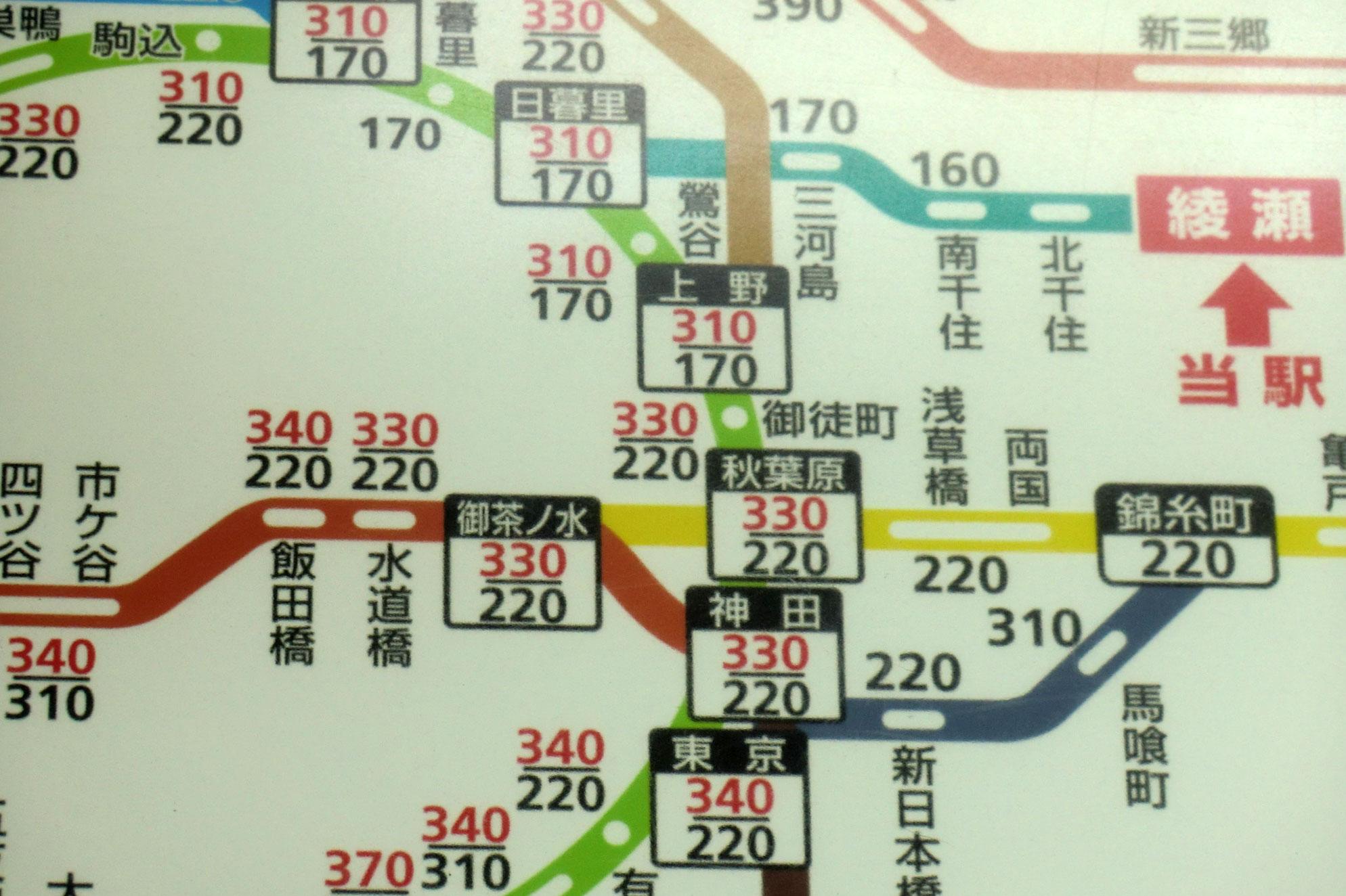 綾瀬駅は上段:西日暮里駅経由、下段:北千住駅経由の併記表示